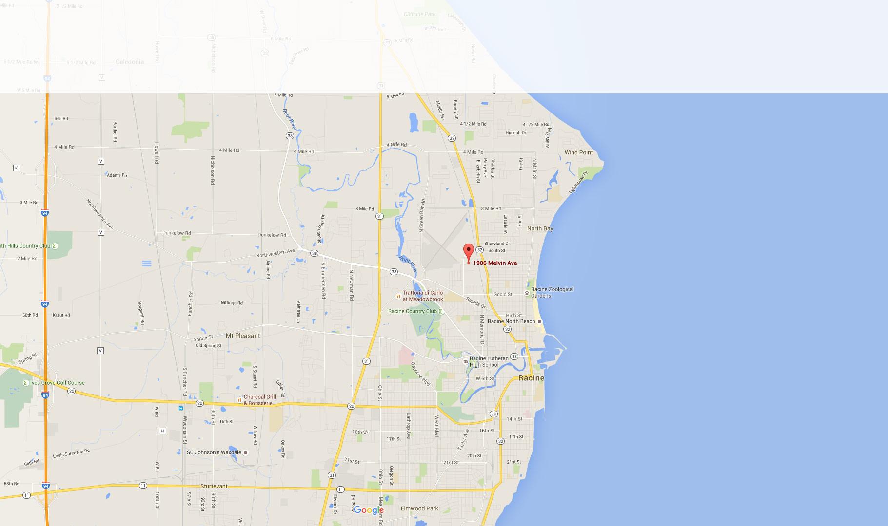 Racine Wisconsin Map.Map 1906 Melvin Ave Racine Wisconsin Nuwood Cabinets