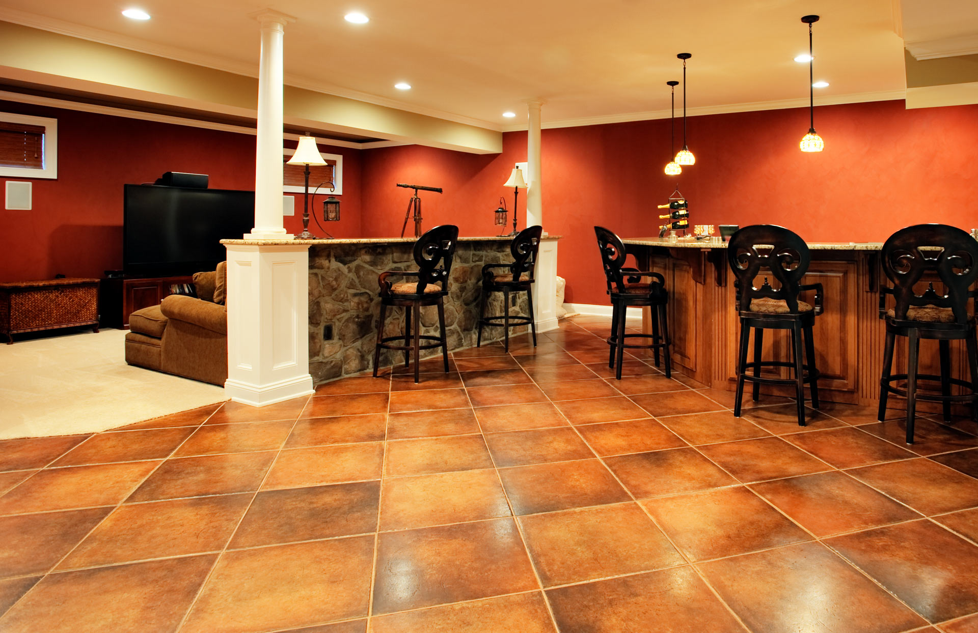 Recreation Room Bar and TV Stand