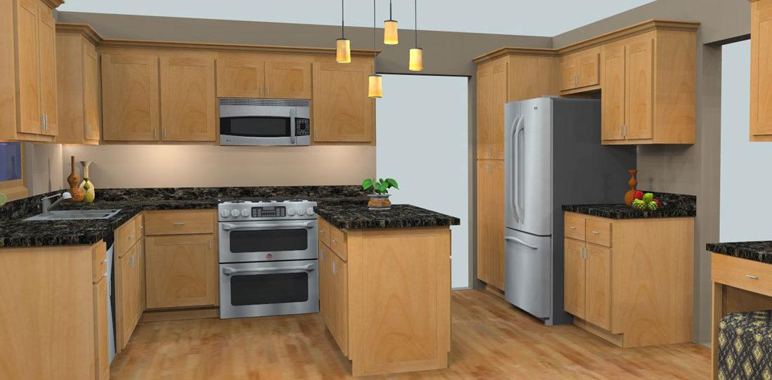 Oak Kitchen 3D Design
