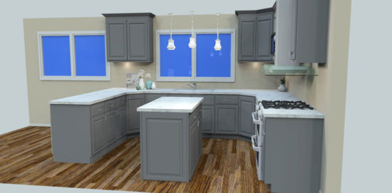 Full Painted Custom Kitchen with Island