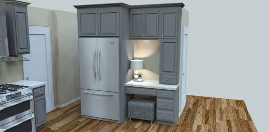Refrigerator Wall Custom Painted Kitchen Cabinets