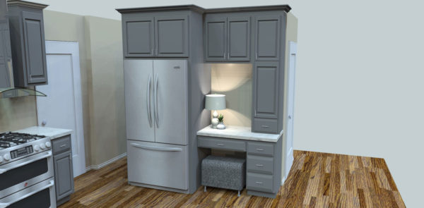 Refrigerator, Custom Painted Kitchen Cabinets