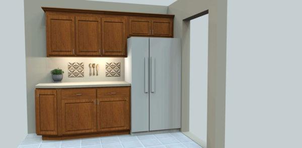 Refrigerator, Raised Panel Cabinets