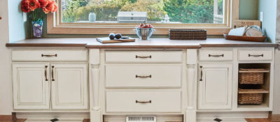 White Kitchen Cabinets, Wood Countertops