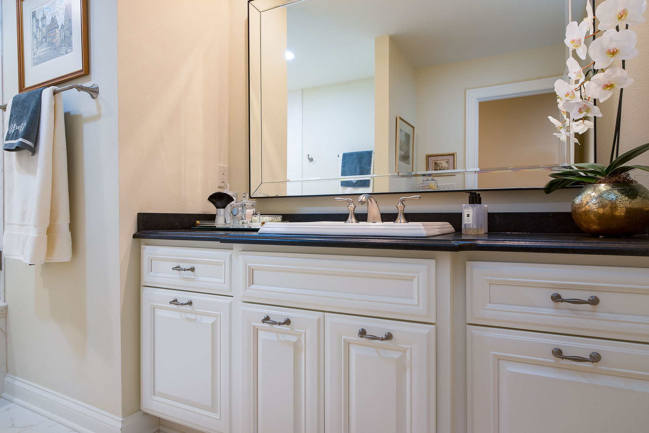White Bathroom Cabinets, Black Granite Countertops